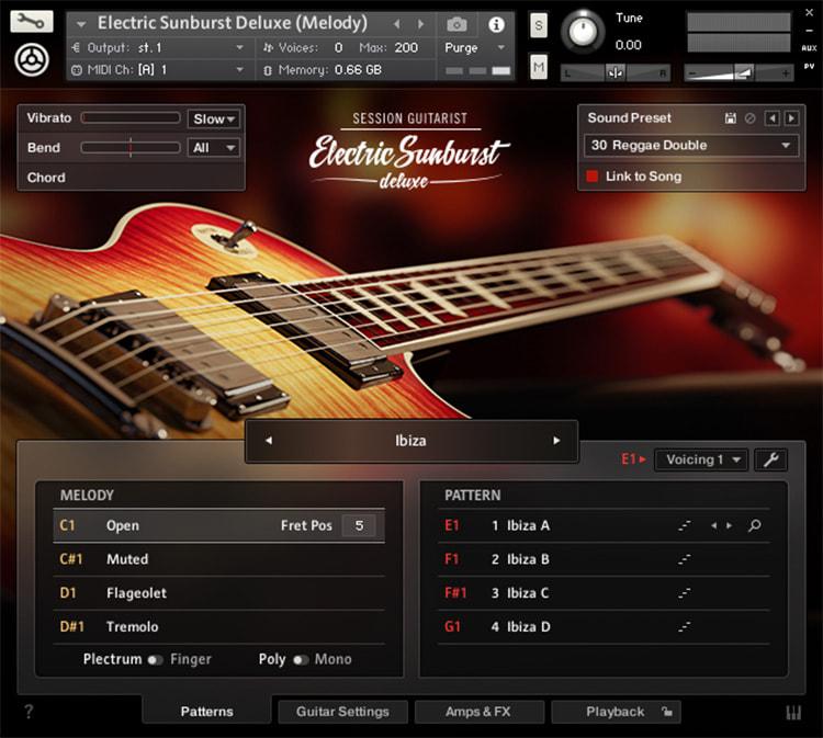 Interface da Library Native Instruments - Session Guitarist - Electric Sunburst Deluxe (KONTAKT)