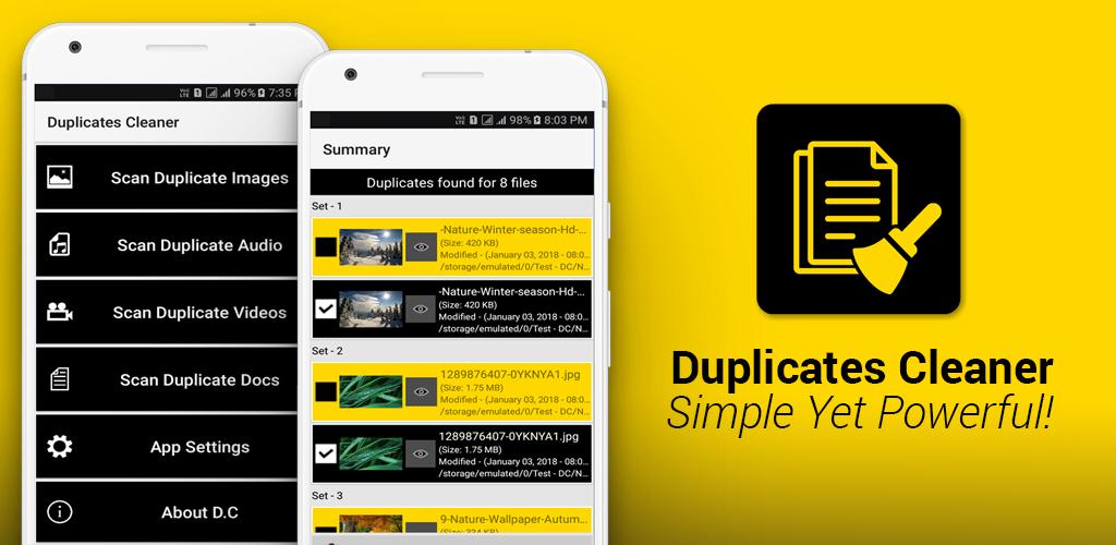 تطبيق Doplicates Cleaner لحذف الملفات المكررة