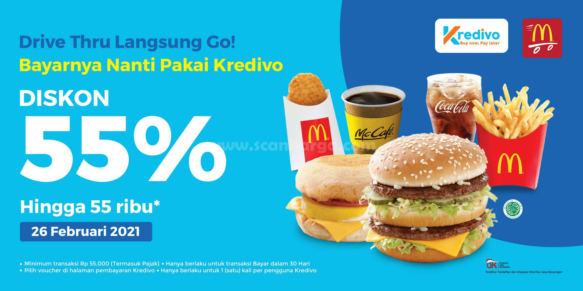 Promo McDonalds DISKON 55% dengan KREDIVO via Drive Thru