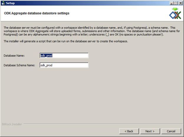 odk aggregate database settings