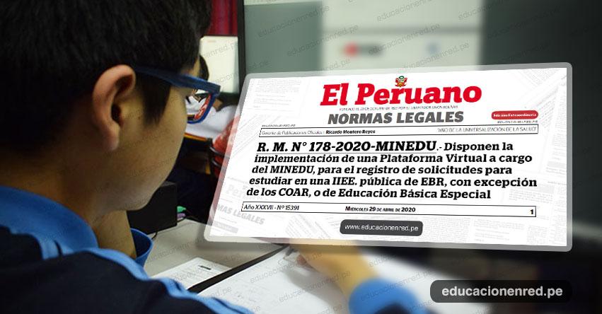 YA ES OFICIAL: Plataforma Virtual para el registro de Estudiantes de colegios privados que desean trasladarse a colegios públicos del 8 al 22 de Mayo (R. M. N° 178-2020-MINEDU)