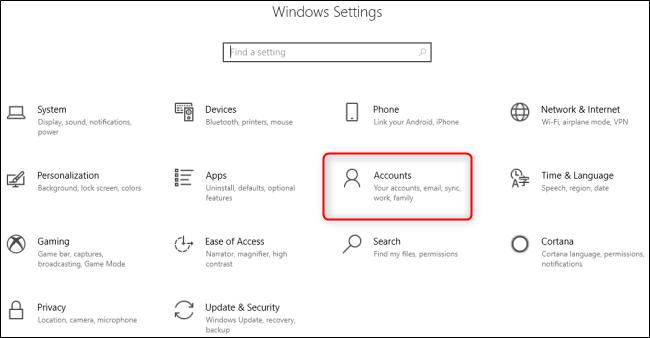 قائمة إعدادات Windows 10