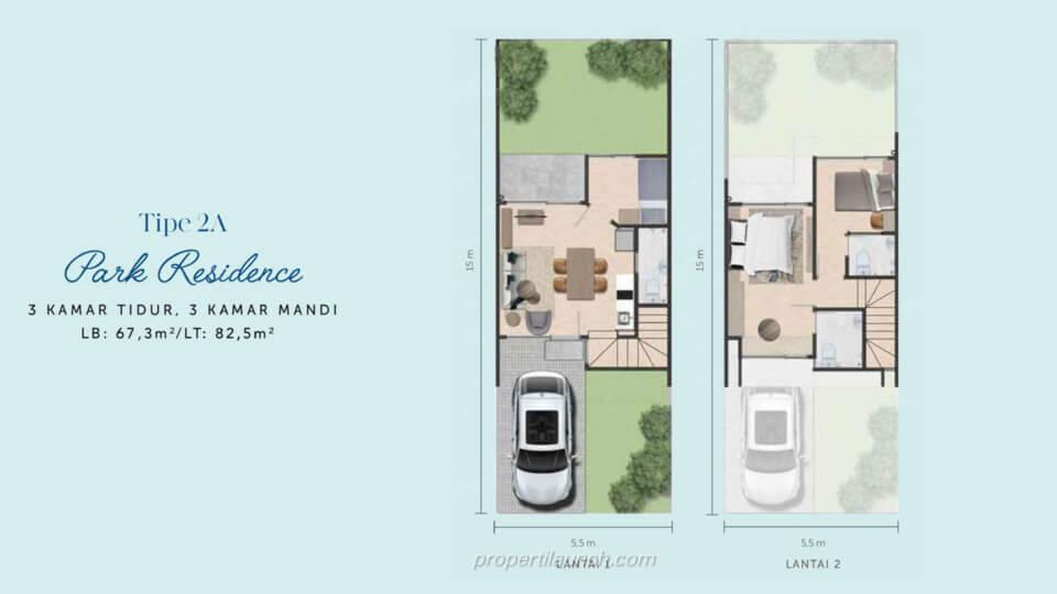 Denah Rumah Waterfront Estate Cikarang Tipe 2A Park Residence