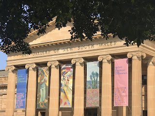 AGNSW entrance with banners for the Hermitage Summer exhibition, 2019