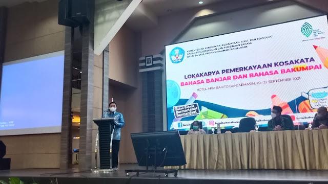 Lokakarya Pemerkayaan Kosakata Bahasa Banjar dan Bahasa Bakumpai di Hotel Aria Barito, Banjarmasin, Senin, 20 September 2021.