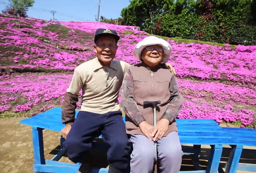 Mrs. Kuroki can't see anything, but she loves to be outside - Loving Husband Spends 2 Years Planting Thousands Of Flowers For His Blind Wife To Smell