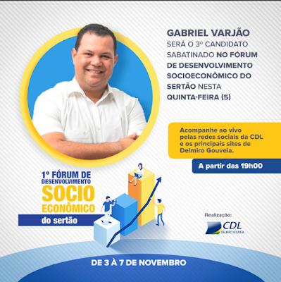 Gabriel Varjão será o 3º candidato sabatinado no Fórum de Desenvolvimento Socioeconômico do Sertão em Delmiro Gouveia