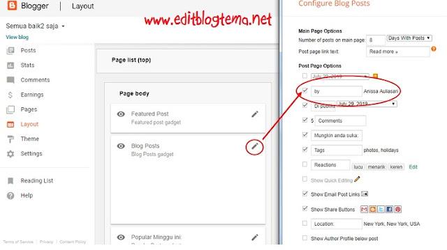 kofigurasikan blog post