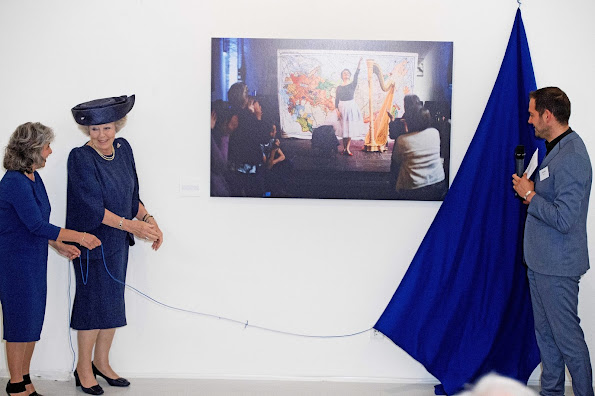 Princess Beatrix attends the official opening of the photo exhibition 'Weer toekomst' at the Museum Hilversum