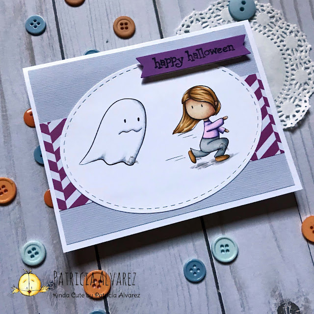 handmade Halloween card using girl and ghost digital stamp