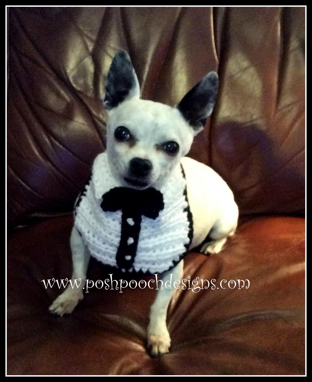 Knitting Pattern For Dogs Tuxedo : Posh Pooch Designs Dog Clothes: Tuxedo Dog Bib Crochet Pattern Posh Pooch D...