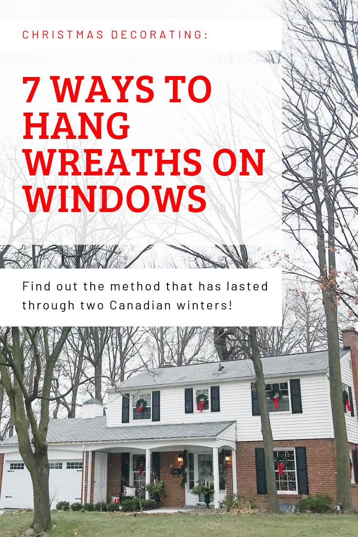 how to hang wreaths on windows, colonial house with wreaths on windows, christmas wreaths on windows