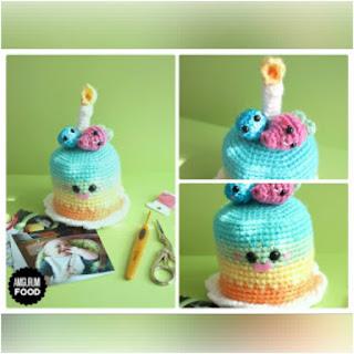 patrón amigurumi Pastel de cumpleaños amigurumi food