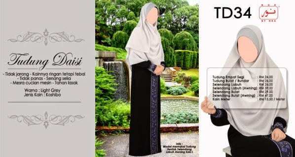 warna light grey tudung daisi cantik jelita