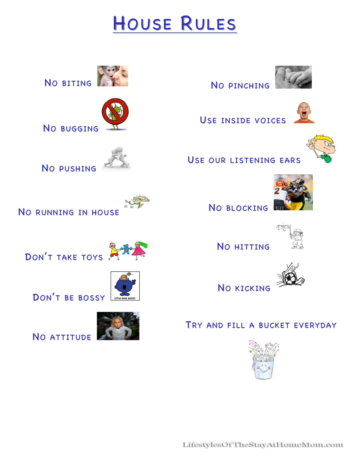 house rules chart template - rules for toddlers at home http www