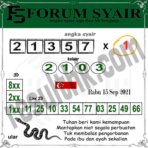 Forum Syair SGP Rabu 15 September 2021