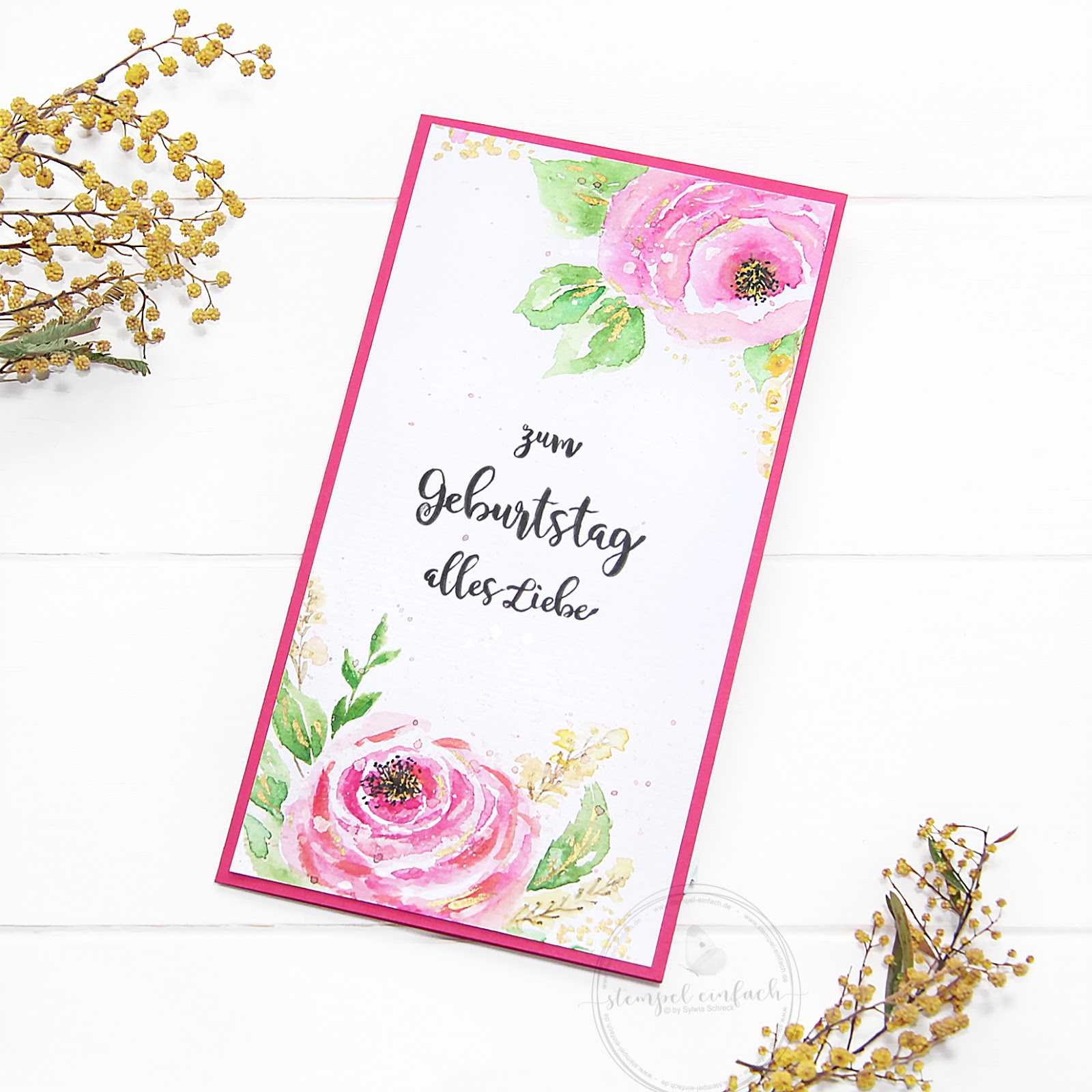Aquarellrosen -Geburtstagskarte