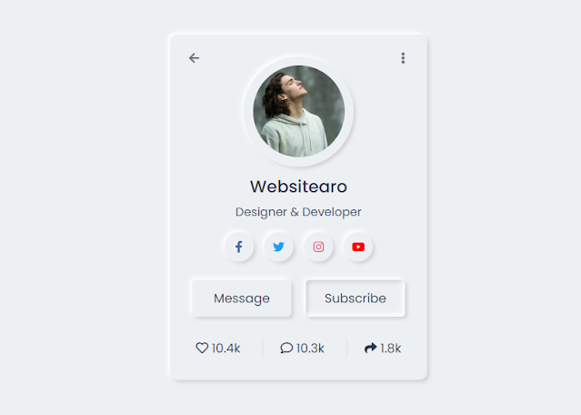 Neumorphism Profile Card UI Design using only HTML & CSS