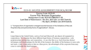 IGNOU BCA 1st SEMESTER ECO-01 Solved Assignment 2017-18
