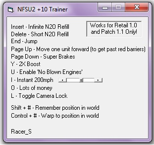 nfsu2-trainer 10