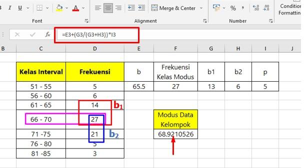 Cara Menentukan Modus Data Kelompok di Excel