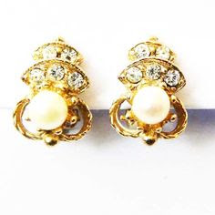 1980s diamante clip earrings