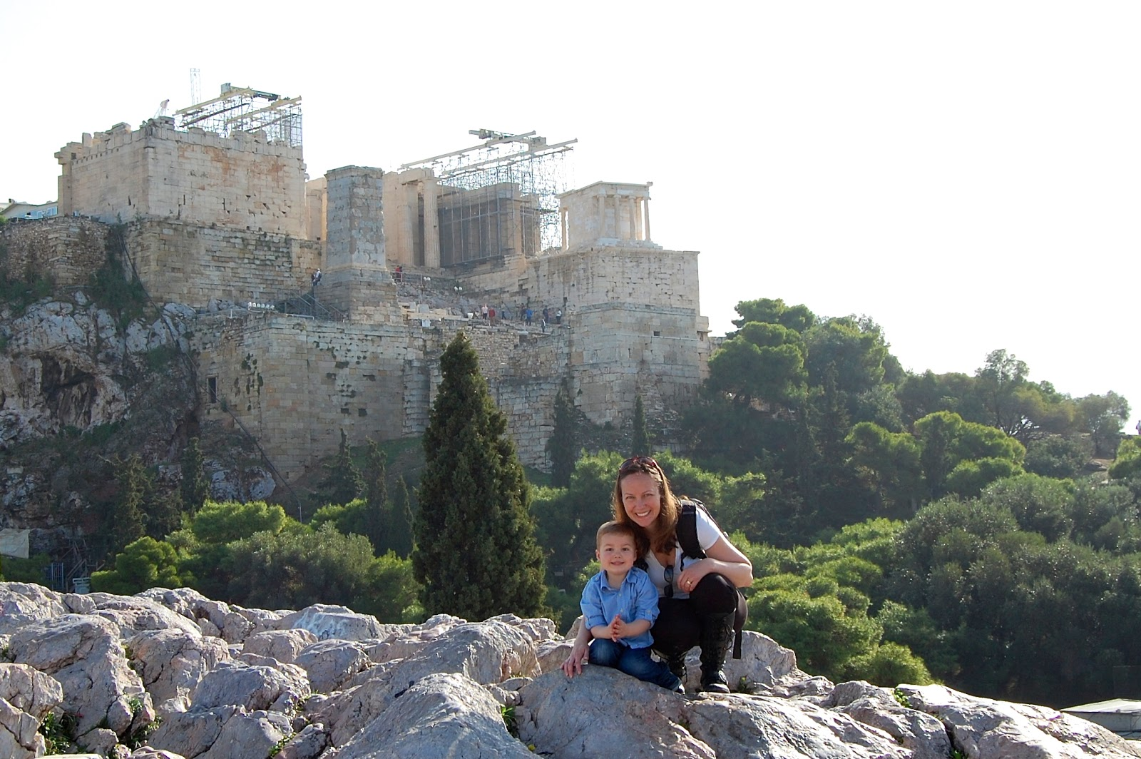 Posing in front of the Acropolis in Athens, Greece