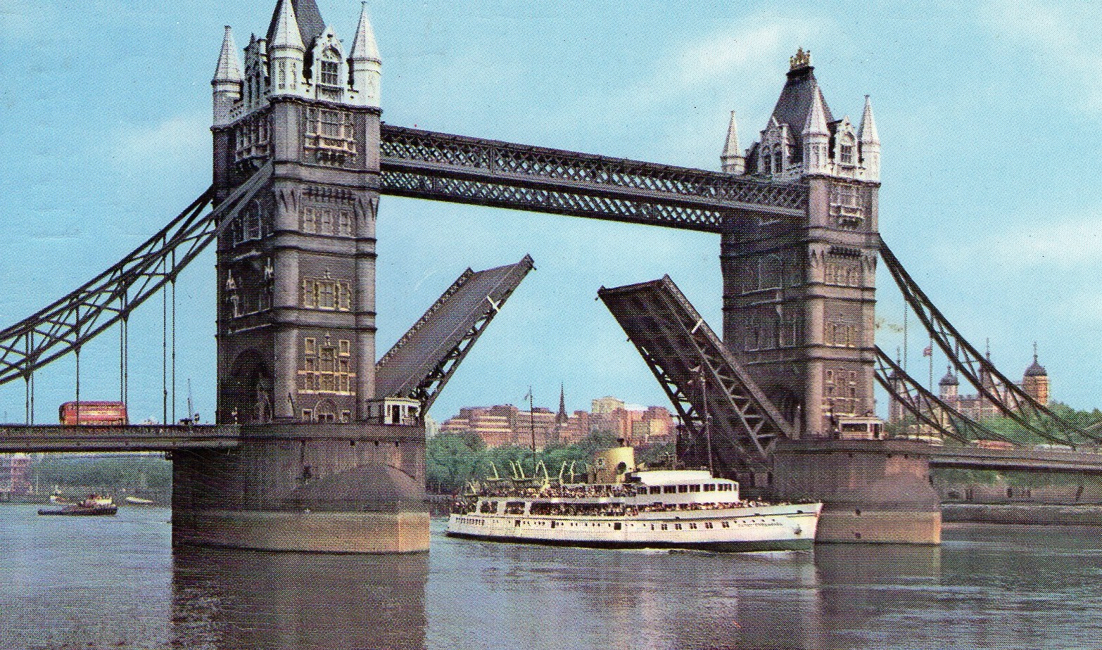 vintage, postcard, London, Tower Bridge