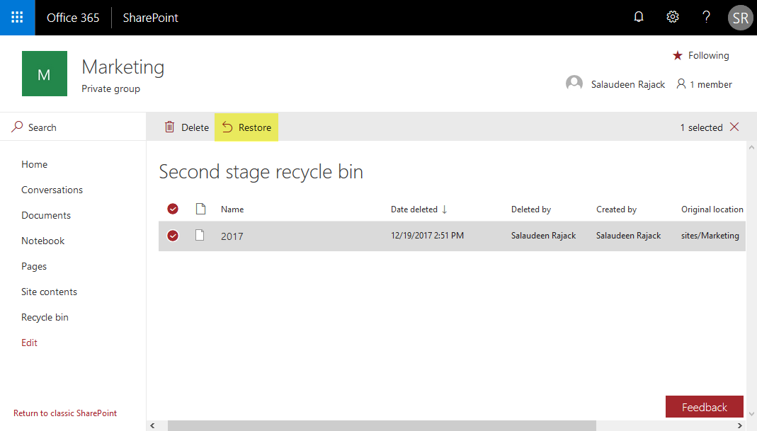 sharepoint online restore subsite from recycle bin
