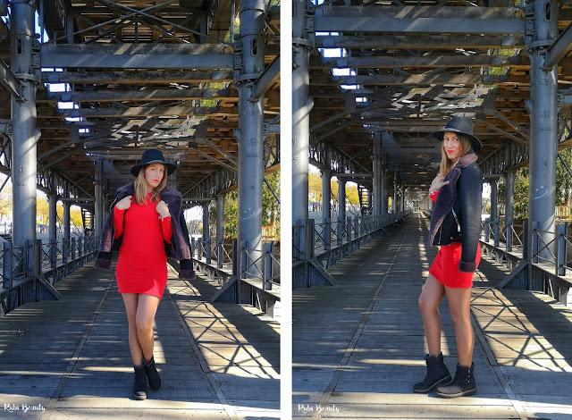 outfit combinar un vestido rojo zara sombrero