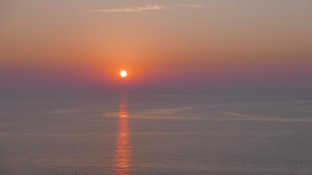 En vélo de Paris à la Normandie, coucher de soleil