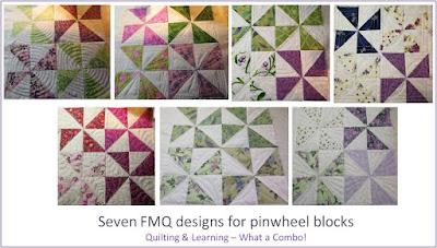 image of 7 FMQ designs for pinwheel blocks