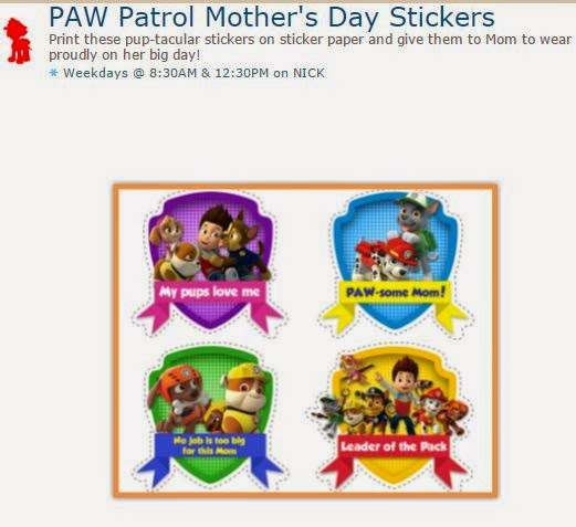 paw patrol mother s day stickers oh my fiesta in english. Black Bedroom Furniture Sets. Home Design Ideas