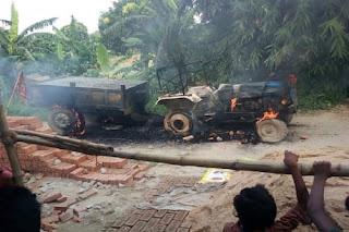 बडी ख़बर: सड़क हादसे में बच्चे की मौत से गुस्साए ग्रामीणों ने ट्रैक्टर में लगाई आग