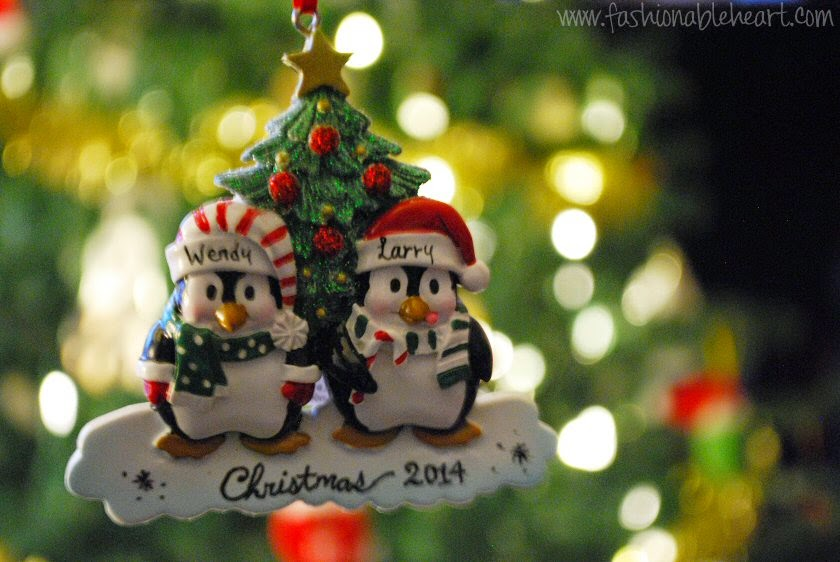 christmas ornament penguins personalized
