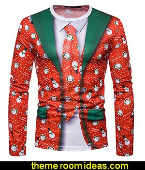 Menshirt Christmas Printing ugly sweater party  ugly sweaters - Christmas ugly sweaters  - decorate yourself - womens ugly sweaters - ugly mens sweaters - embellished ugly sweaters - fun sweaters - novelty sweaters - Christmas party sweaters - quirky party sweaters -  Christmas party hats