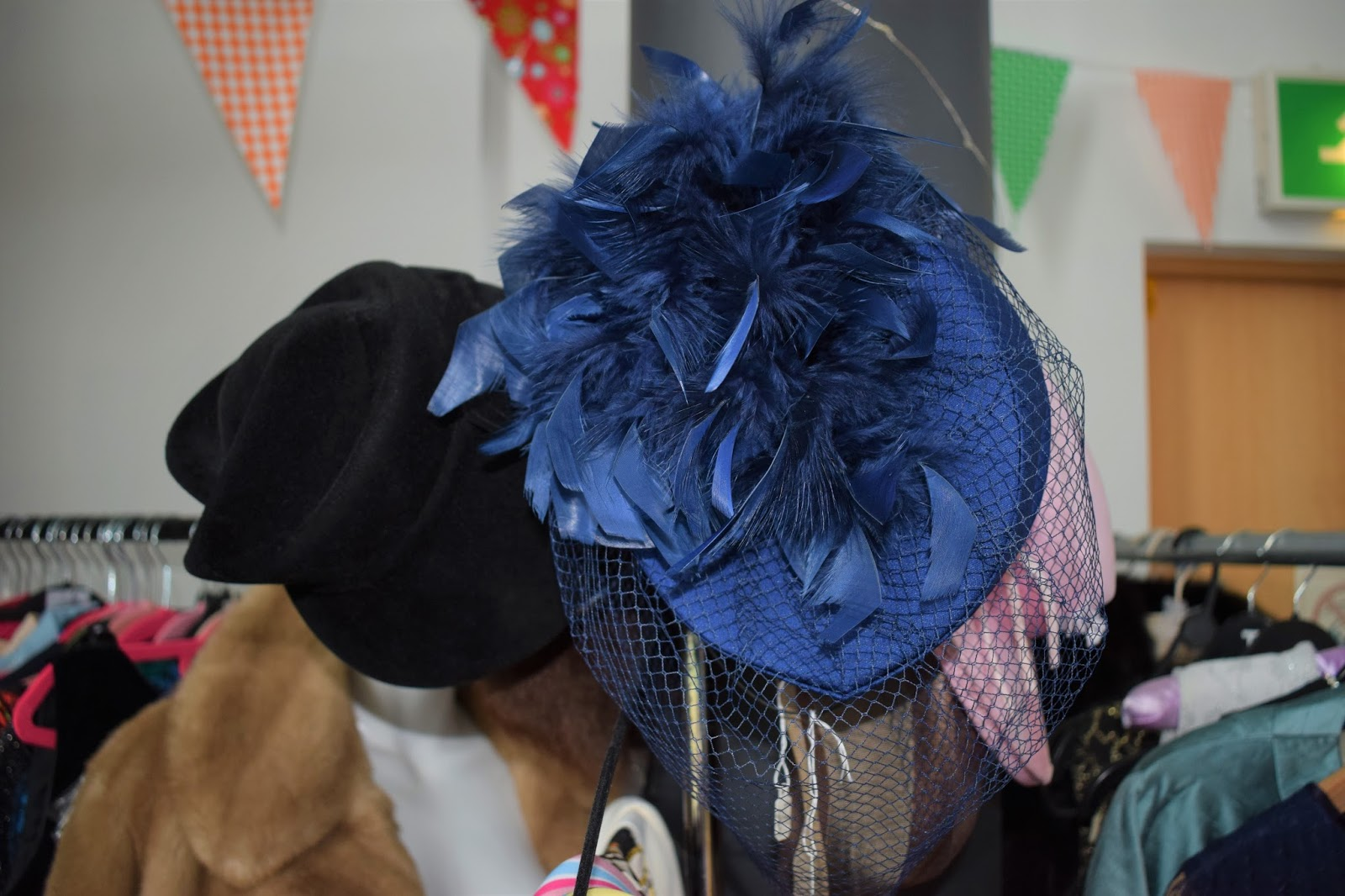 Specifically Vintage market event, The Quay Dundee, charity event Dundee, Vintage afternoon tea and fashion show, vintage hat with feathers and cage veil