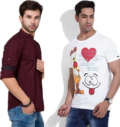 Top Brand Men's T-Shirts and Shirts – Minimum 60% Off at Flipkart