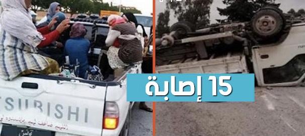 بالفيديو / سبيطلة : إصابة عملة فلاحيين في حادث مرور خطير .. و3 في حالة حرجة