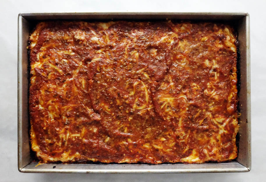 baked Detroit-style pan pizza