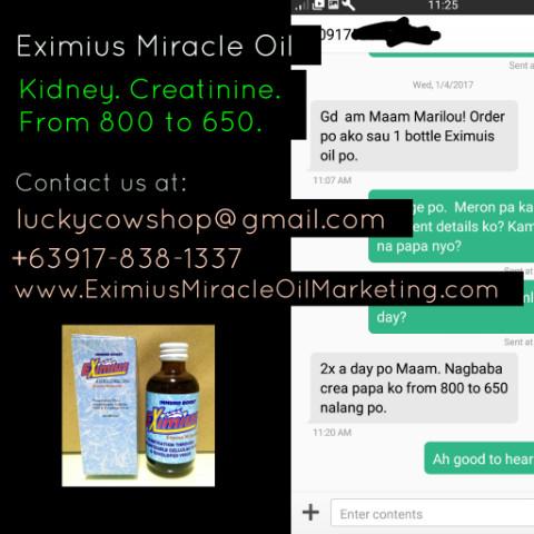 eximius miracle oil immunoboost kidney creatinine