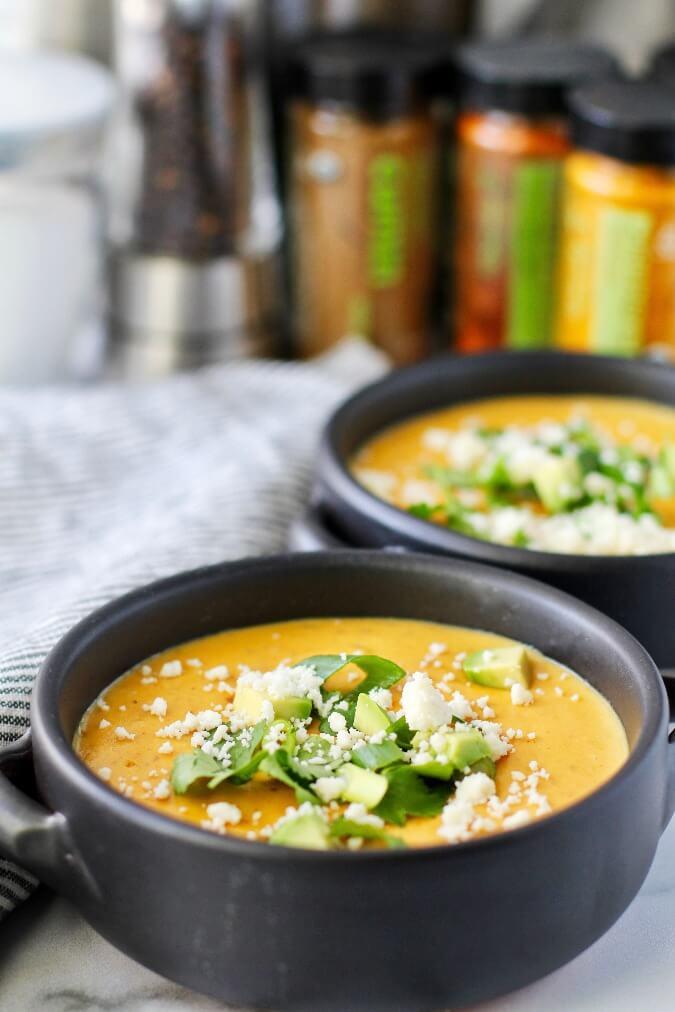 Peruvian potato soup with toppings