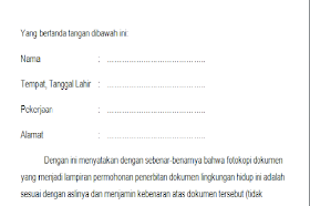 Contoh Surat Pernyataan Kebenaran Dokumen