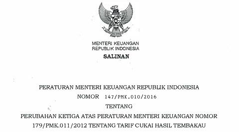 PMK 147 Tahun 2016 Tentang Tarif Cukai Hasil Tembakau