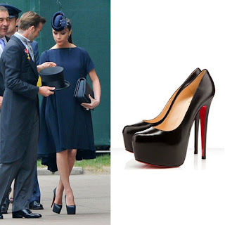 3533c6432cea ... italy victoria beckham wearing christian louboutin daffodile red soled  shoes. e32e6 692a6