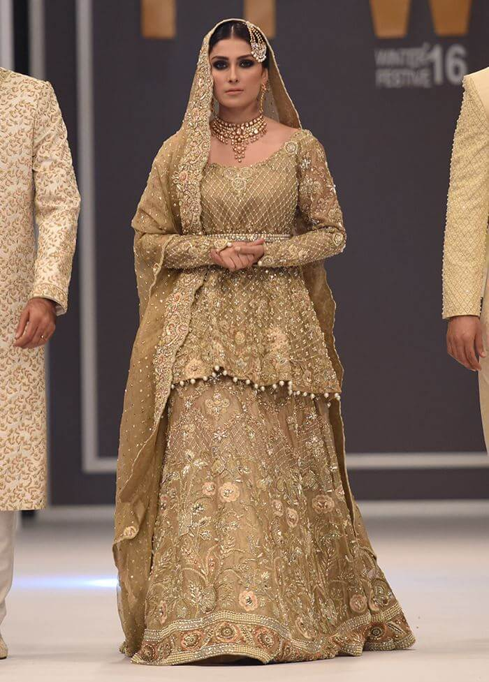 Deepak Parwani Traditional Gold Bridal Dress with Embroidery