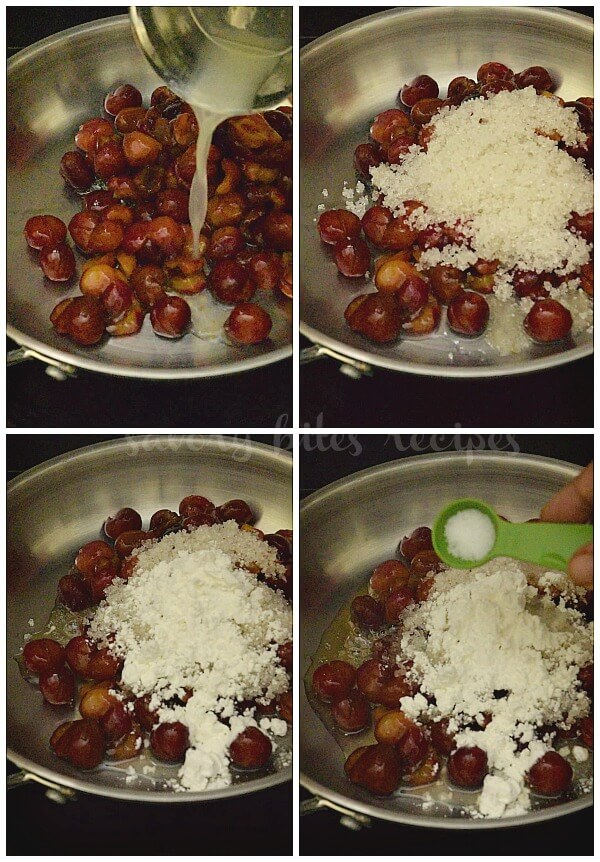steps to make cherry filling -  a pan with fresh pitted cherries,lemon juice,sugar,cornstarch,salt