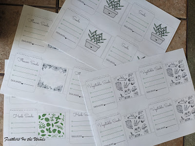 4 sheets of paper with seed packet templates printed on them