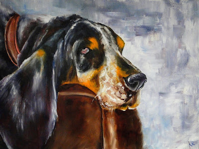 painting of a hound dog, painting of a tricolour dog, a pet portrait by animal artist Karen Robinson