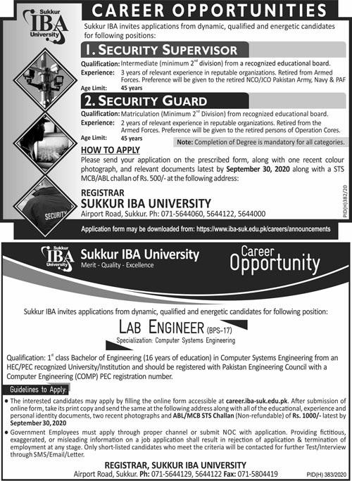 Sukkur IBA University Jobs 2020 | Multiple Vacancies